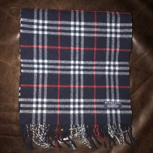Burberry Navy Blue Check Lambswool Scarf